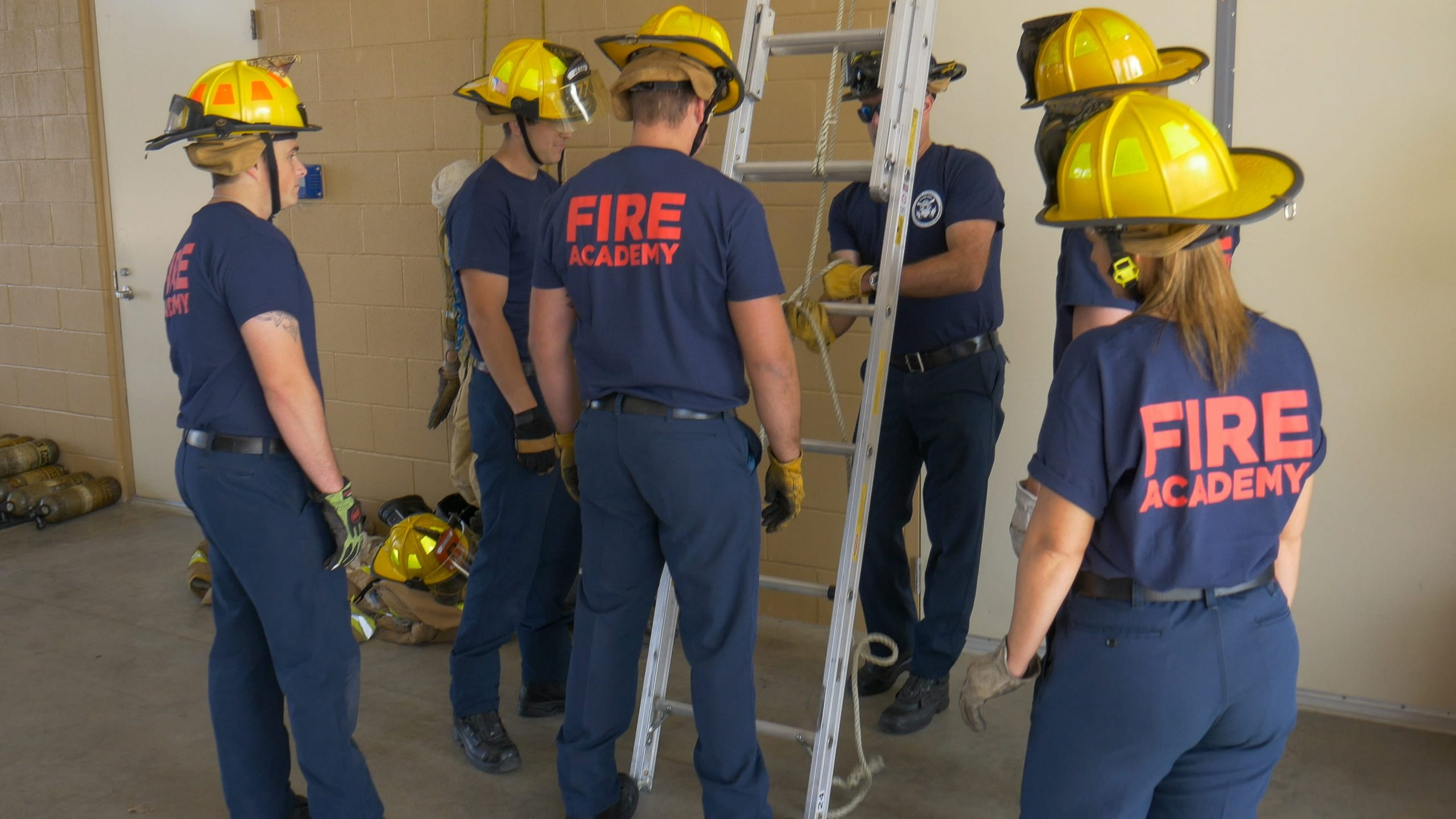 Fire training extended ladder